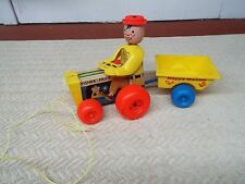 """Vintage 1967 Fisher & Price """" Happy Hauler """" Wood and Plastic Pull Toy #732"""
