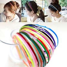COOL 10Pcs Colored Plain Lady Women Plastic Teeth Skinny Thin Hair Band Headband