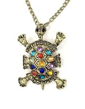 Turtle Pendant Necklace Crystal Rhinestone Vintage Copper Plated New