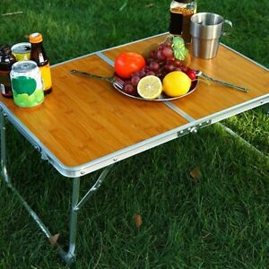 Portable Multi-Functional Folding Bamboo Table Indoor Work & Outdoor Picnic Use