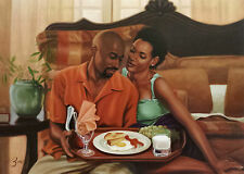 "African American Art ""Breakfast in Bed"" Black Romantic Print Henry Lee Battle"
