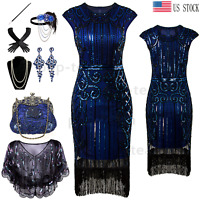 1920s Vintage Fringe Costumes Flapper Gatsby Party Fromal Evening Prom Dress