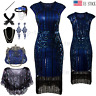 Vintage Fringe 1920s Flapper Dress Gatsby Party Fromal Evening Prom Dresses Blue