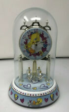 """Tweety Bird Porcelain Glass Dome 9"""" Clock, Hearts Base, Spinning Crystals"""