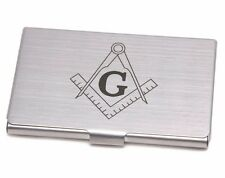 Quality Metal Business Card Holder with Masonic Symbol