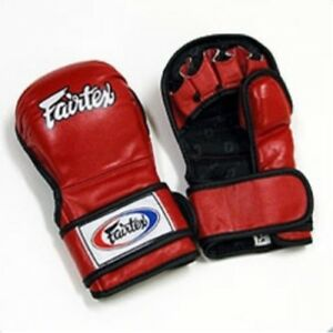 FAIRTEX FGV15 RED DOUBLE WRIST CLOSURE MARTIAL ARTS MMA BOXING SPARRING GLOVES