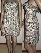 WISH Size 10 Zebra Print Silk Strapless Anxious Dress
