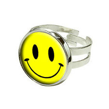 Smile Smiley Face - Silver Plated Adjustable Novelty Ring