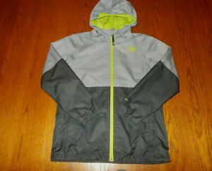 THE NORTH FACE DRYVENT FULL ZIP HOODED GRAY 2 IN 1 RAIN JACKET BOYS LARGE EXCELL