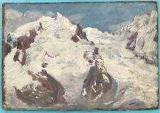 2x Alpen Ölgemälde Alpen Gletscher Landschaft Berghof Dolomiten? M. Hamm ~1925