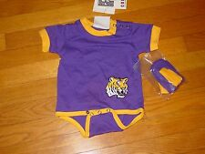 LSU Louisiana State Univ  TIGERS  ONESIE  / BOOTIES  NEW TAGS INFANT  3-6 MONTH