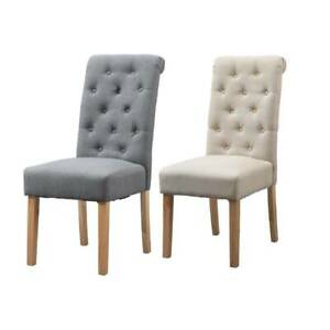 2/4/6 PCS Dining Chairs Fabric Padded Seat Button Tufted Wood Legs Dining Room