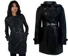 New Womens Jacket Leather Look Coated Ladies Bomber Hoody Winter Warm Coat Black