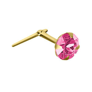 Jewelco London 9ct Gold Pink Crystal Claw Set Andralok Hinged Nose Stud 4mm