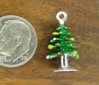 Vintages sterling silver MERRY CHRISTMAS TREE ORNAMENTS ENAMEL charm