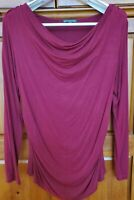 Adrianna Papell Women's Deep Red Drape Neck Rouched Sides Long Sleeve Blouse L