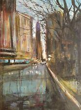 Dawn New York.  Original Mixed Media Painting on Canvas