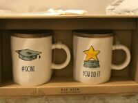 Rae Dunn Graduation Mug Set of 2 with Wooden Lid/Coaster #DONE and YOU DID IT