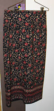 BRIGGS PETITE MAXI SKIRT SIZE 6P ULTRA SUEDE RED/GOLD/BLACK PAISLY PRINT