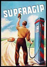 PUBBLICITA' 1951 SUPER AGIP ENI CORTEMAGGIORE POMPA BENZINA BENZINAIO CARBURANTE