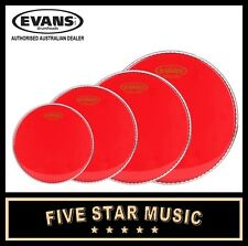 "EVANS HYDRAULIC RED 4 PCE DRUM SKIN SET 10"" 12"" 14"" 16"" HEADS TRANSPARENT RED"
