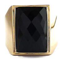 BIG BLACK ONYX GOLD BRASS BRONZE RING NEW SIMPLY ELEGANT JEWELRY