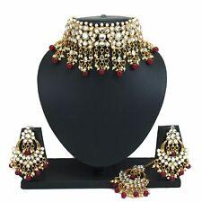 Maroon Beaded Kundan Pearl Choker Necklace Chandbali Earrings Bridal Jewelry Set