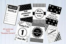 Baby Milestone Cards Monochrome Pkt of 33 Cards Baby Shower Gift Unisex