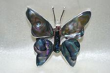 Butterfly Pendant Abalone Shell Alpaca Shiny Silvertone Mexico Free Shipping