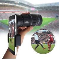 US 16x52 Zoom Hiking Monocular Telescope Lens Camera HD+Phone Holder Tripod Clip