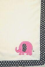 Sunrise White Elephant Baby Blanket Black White Polka Dot Trim Soft Fleece