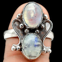 Rainbow Moonstone - India 925 Sterling Silver Ring s.9 Jewelry 3868