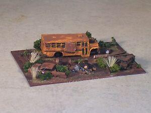 N Scale Railroad Trackside Abandon Medium Size School Bus Hobo Camp
