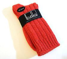 b.ella Ladies Wool Silk Blend Ribbed Boot Crew Socks Erin Red (Coral) - NEW