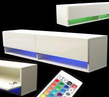 LED Lowboard TV-Schrank 140 Hochglanz Hängeschrank Fernsehschrank weiß 57044