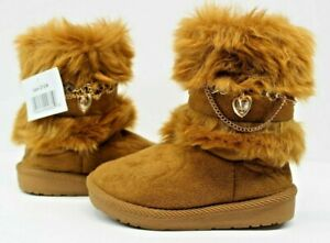 Fur & Suede Gold Chain Toddler Girl Boots - Side Zipper Size 9 Fashion Boots