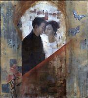 """Russischer Realist Expressionist Öl Leinwand """"Verliebte"""" 110x100 cm"""