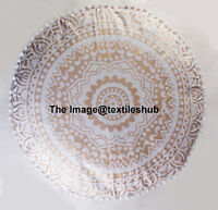 Indian Gold & White Ombre Mandala Ottoman Pouffe Footstool Pouf Round Seat Cover