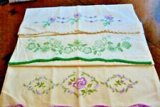 3 Vintage Handmade Lilac/Green Floral Embroidered Pillowcases-Crochet Trim