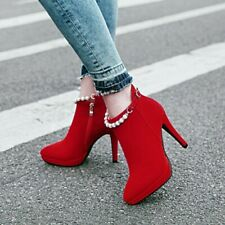 Women's Stilettos High Heels Ankle Strap Ankle Boots Party Wedding Shoes 34-43
