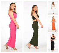 Ladies 2 Piece Co-ord Set Sleeveless Ribbed Crop Top Bodycon Maxi Skirt Suit