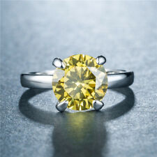 Elegant Rings for Women 925 Silver Jewelry Round Cut Citrine Ring Size 6