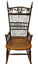 American Victorian Whitney Reed Chair Co Cane U0026 Wicker Rocking Chair, C.  1880u0027s