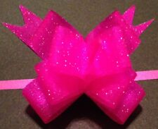 Pink Mini PULL BOW made with 1/2 inch wide vellum glitter Ribbon Easy DIY party