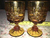 "2 VTG Mosser L.G. Wright Amber Eyewinker 6 1/8"" Pedestal Water Goblet Wine Glass"