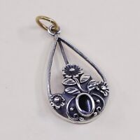 Vtg Sterling Silver Handmade Pendant solid 925 silver w/ Obsidian, stamped 925