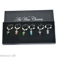 1Box Mixed Angel Christmas Glass Wine Charms Mark Ring Table Decorations