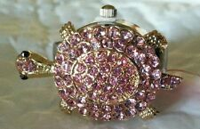 Turtle  RING watch in beautiful pink  crystals
