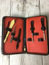 Vintage Leather Nail Manicure Kit Germany Not Complete Black Red