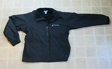COLUMBIA Fleece Lined Rain JACKET Men XL Water Resistant Warm Black Nylon Zipper